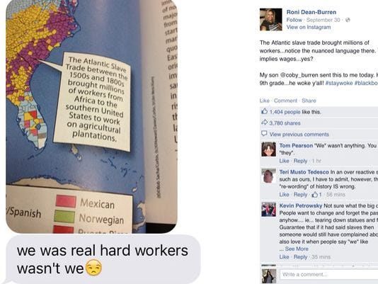 A screenshot of Roni Dean-Burren's initial exchange with her son over the caption in his ninth-grade textbook.