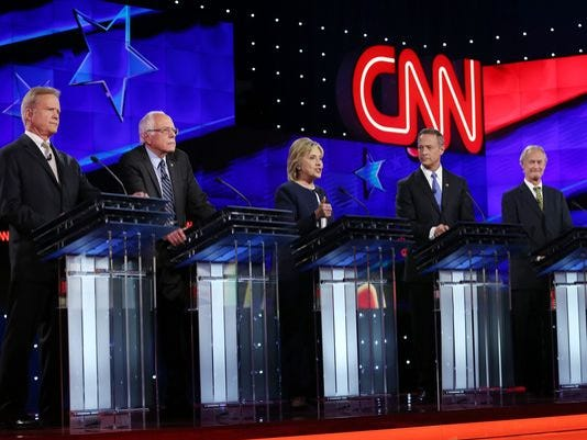 From left: Jim Webb, Bernie Sanders, Hillary Clinton, Martin O'Malley and Lincoln Chafee take part in a Democratic presidential debate in Las Vegas on Oct. 13, 2015.