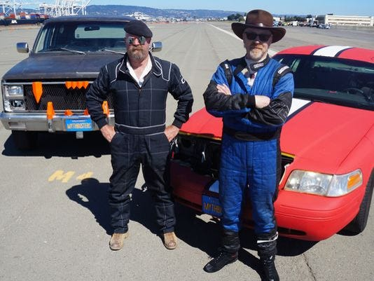 Jamie Hyneman, left, and Adam Savage host the long-running Discovery Channel hit, 'Mythbusters.'