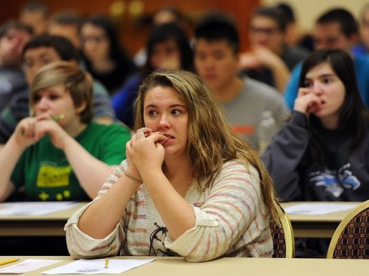Students appear nervous as they prepare to take a 30-minute science test at the GCI Alaska Academic Decathlon in February 2014 at the Hilton Anchorage Hotel in downtown Anchorage.