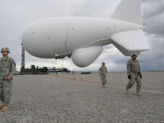 A blimp, likely similar to this one, detached from its moorings and drifted over Pennsylvania on Wednesday.