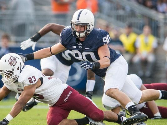 """Garrett Sickels (90) is the least known of Penn State's """"Wild Dogs"""" defensive line. But he's received recent high praise from Nittany Lions' head coach James Franklin."""