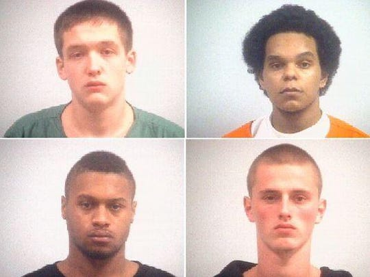 Clockwise from top left: Blake Layman, 19; Jose Quiroz Jr., 19; Levi Sparks, 20; and Anthony Sharp Jr., 21, had originally received five-decade sentences for the murder of their friend Danzele Johnson, 21, who was fatally shot by a homeowner while the young men were breaking into a home. Three of those murder convictions were eventually thrown out.