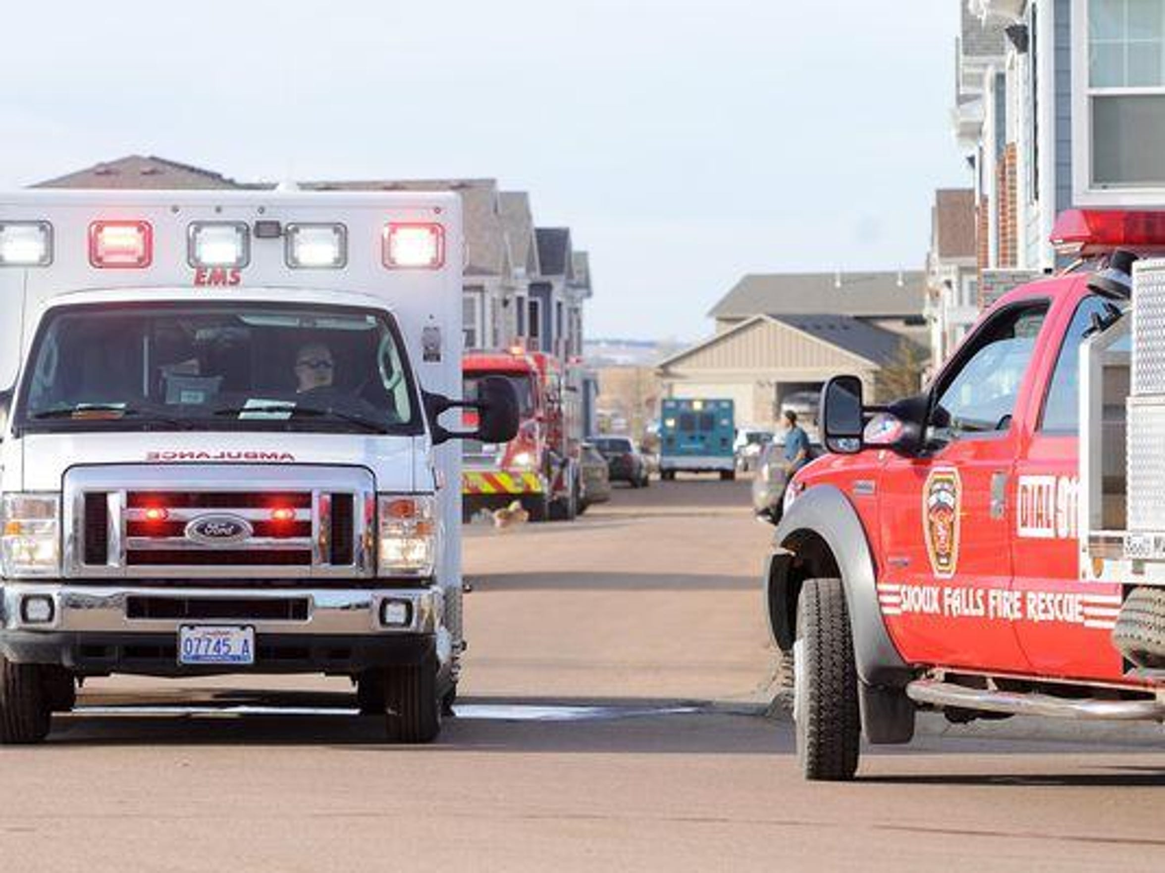 An ambulance leaves the scene of a February 2016 shooting outside of an apartment in southwestern Sioux Falls. Kellie Dagel's ex-boyfriend shot her three times before turning the gun on himself.