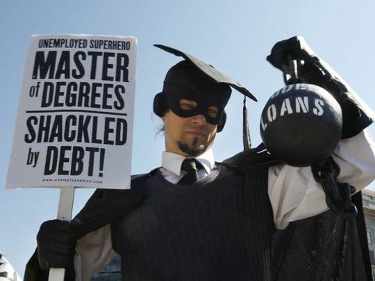 Gan Golan protests student debt in 2011 in Washington,