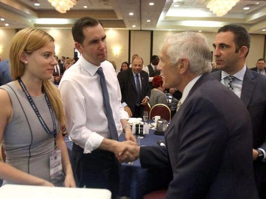 Retired Gen. Wesley Clark, right, a former presidential candidate, shook hands with Jersey City Mayor Steven Fulop after he spoke to New Jersey delegates to the Democratic National Convention at the Airport Renaissance Hotel in Tinicum Township, Pennsylvania, in July.