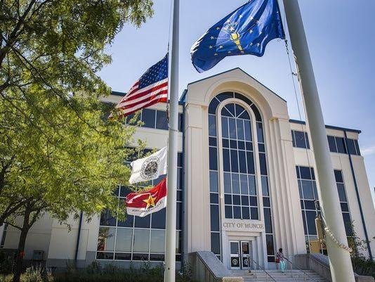 Muncie City Hall w flags