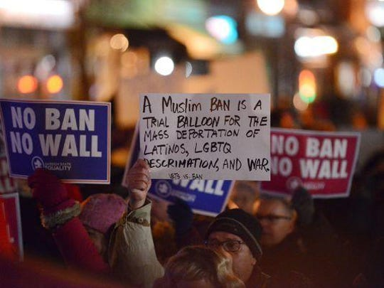 A rally in Jersey City Jan. 30 against President Donald Trump's refugee and Muslim ban.