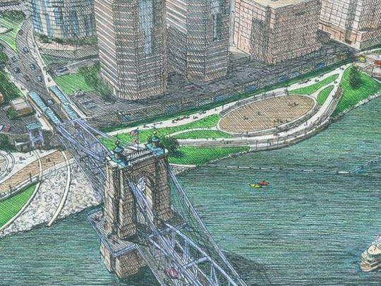 Riverfront commons sketch
