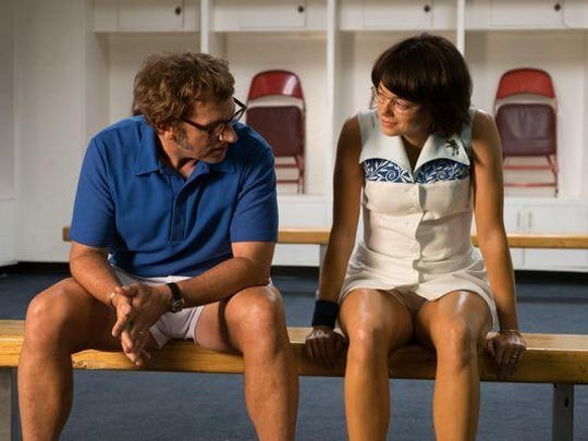 "Steve Carell stars as Bobby Riggs and Emma Stone as Billie Jean King in ""Battle of the Sexes."""