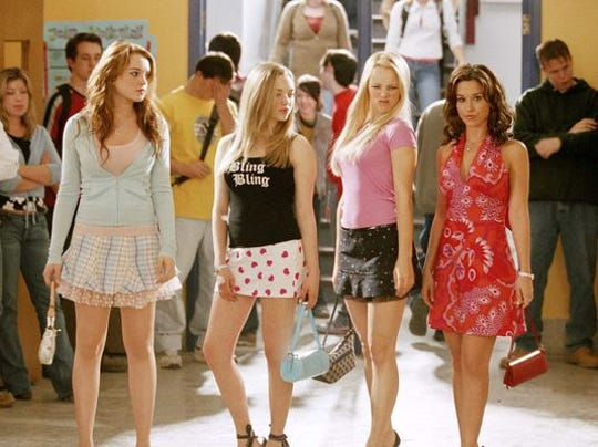 "Lindsay Lohan is Cady, Amanda Seyfried is Karen, Rachel McAdams is Regina and Lacey Chabert is Gretchen in ""Mean Girls."" (Photo: Michael Gibson, AP)"