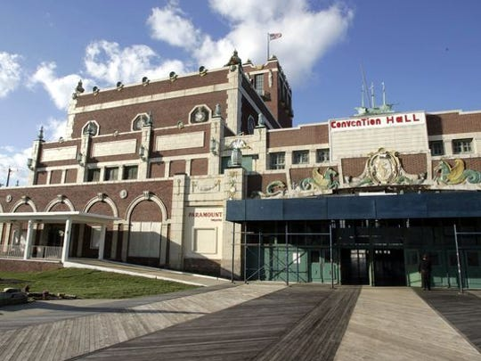 The Paramount Theater (left) and Convention Hall on the Asbury Park boardwalk.