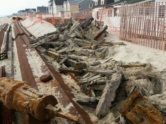 COURTESY OF BRICK TOWNSHIP Timber from a 19th century shipwreck uncovered on Brick beach.