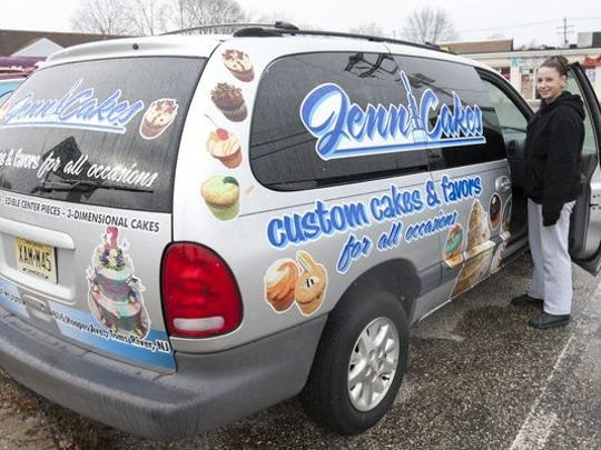 Jenni Richmond, owner of JenniCakes in Toms River, was able to decorate her delivery van with the savings from lower gasoline prices.