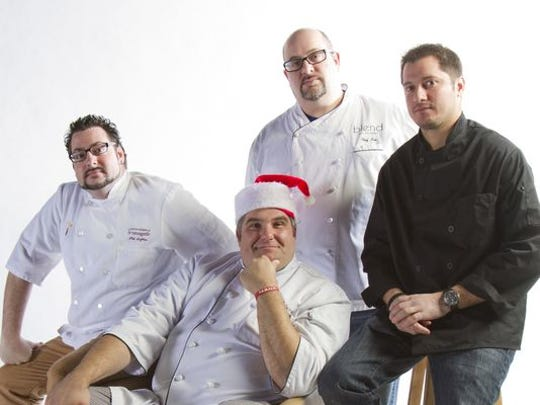 From left: Local chefs Phil Deffina of David Burke Fromagerie in Rumson, (seated) Joe Leone of Joe Leone's in Point Pleasant Beach and Sea Girt, Lou Smith of Blend on Main in Manasquan, and Dominick Rizzo of Catch in Red Bank.