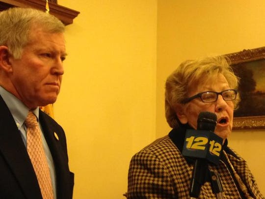 Senate Majority Leader Loretta Weinberg and Sen. Robert Gordon, both D-Bergen, announce the state Senate will attempt to override Gov. Chris Christie's veto of Port Authority of New York and New Jersey reform legislation March 5, at a Statehouse news conference on Thursday, Jan. 8, 2015.