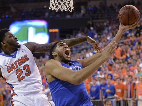 Karl-Anthony Towns (right) headlines the list of 20 New Jersey players in the Big Dance.