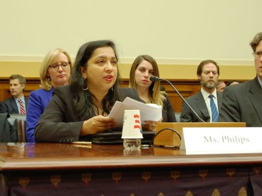 Bindu Philips of Plainsboro testifies before a congressional committee in Washington about how her ex-husband, Sunil Jacob, abducted their twin sons while on a vacation to India in December 2008. Philips has not seen nor heard from them in six years.