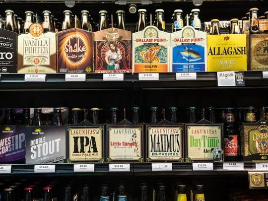 Check out popular craft beers from companies like Ballast Point Brewing and Founders.
