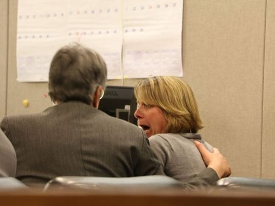 Michelle Heale of Toms River reacts after being convicted of aggravated manslaughter and child endangerment in the death of toddler Mason Hess.