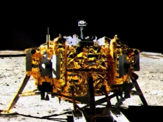 The Chang'e 3 lunar probe on the moon on Dec. 15.