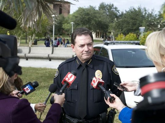 UCF Police Chief Richard Beary addresses the media