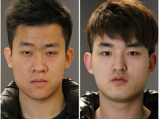 Meng Long Li, left, and Shan Gao are charged in an assault at a karaoke bar.