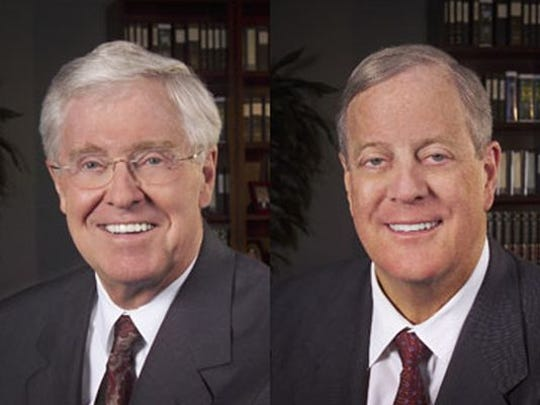 Charles and David Koch, billionaire industrialists and philanthropists who've been hosting hundreds of other Freedom Partners Chamber of  Commerce donors in the desert since 2003.