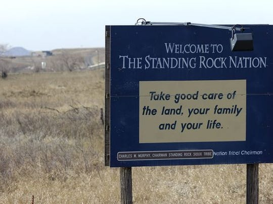Sign welcoming visitors to the Standing Rock Reservation near Mobridge.