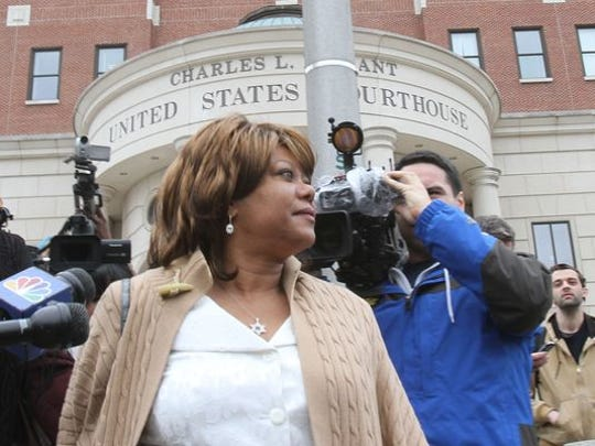 Former Spring Valley Mayor Noramie Jasmin outside the U.S. Courthouse in White Plains.