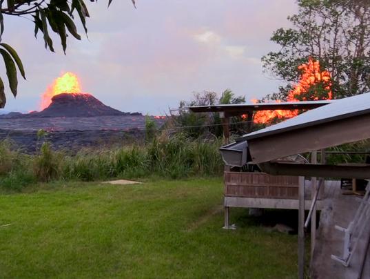 Kilauea volcano erupts near home
