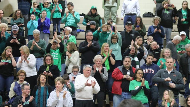 Seton Catholic Central fans cheer for their Class B state champion girls basketball team last season at Hudson Valley Community College in Troy. Where do the Saints rank so far this season?