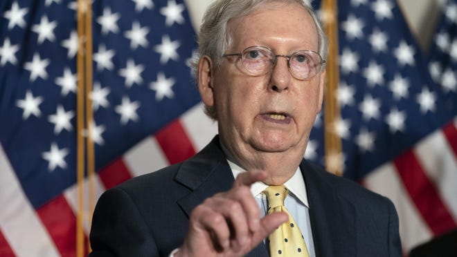 Senate Majority Leader Mitch McConnell of Ky., speaks after meeting with Senate Republicans, Wednesday, Sept. 9, 2020, on Capitol Hill in Washington.