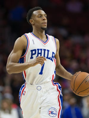 Ish Smith in action against the Indiana Pacers at Wells Fargo Center.