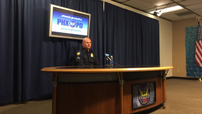 Phoenix Police Sergeant-in-Traing David Hough spoke in front of reporters Thursday afternoon about the weekend incident.