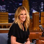 "NEW YORK, NY - JULY 31:  Julia Roberts visits ""The Late Show Starring Jimmy Fallon"" at Rockefeller Center on July 31, 2014 in New York City."