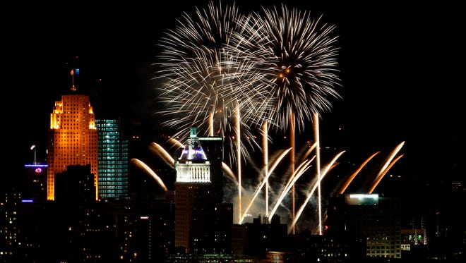 The WEBN Fireworks light up the sky over Downtown Cincinnati with a vantage point from the Queens Tower in East Price Hill.