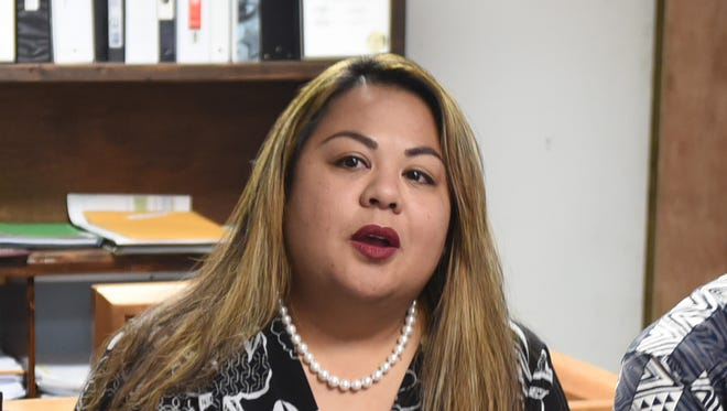 In this May 19 file photo, Kate Baltazar, deputy director of the Department of Corrections, speaks during a press conference. Baltazar said Tuesday that the prison is investigating a perforation in the prison's fence.