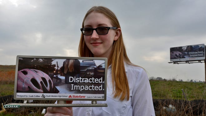 """South Western high-school student Leah Collins created the winning billboard design, which is displayed along Route 94 South, just north of Hanover, in the """"No Excuses: Youth Traffic Safety Billboard Contest,"""" sponsored by the Center for Traffic Safety, Thursday, April 18, 2018. John A. Pavoncello"""
