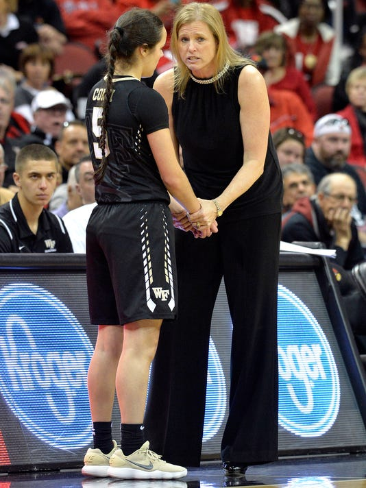 Wake Forest head coach Jen Hoover, right, talks with guard Gina Conti (5) during the second half of an NCAA college basketball game against Louisville, Sunday, Jan. 28, 2018, in Louisville, Ky. (AP Photo/Timothy D. Easley)