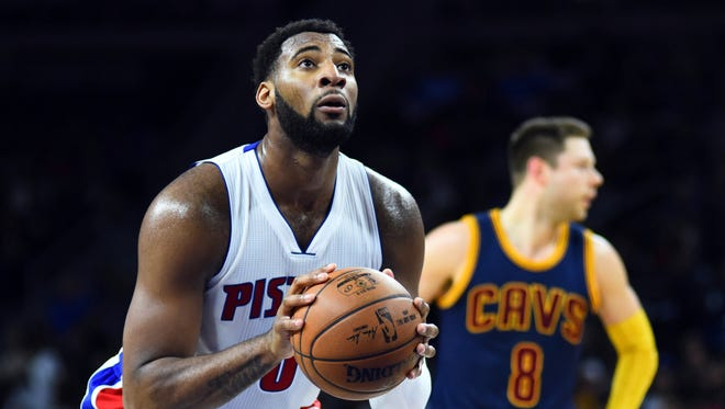 Detroit Pistons center Andre Drummond shoots a free throw during the second quarter against the Cleveland Cavaliers in Game 3 on April 22, 2016, in Auburn Hills.