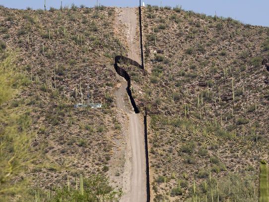 A section of the border fence near Ajo, Ariz. President
