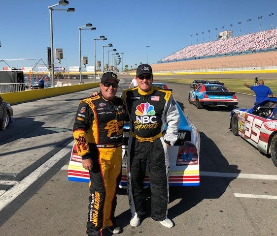 NBC hockey analyst Jeremy Roenick (right) got some NASCAR driving lessons from Brendan Gaughan before taking his race car for a spin.
