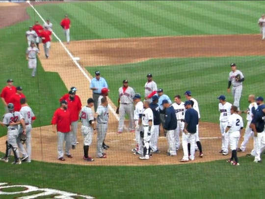The Somerset Patriots and Lancaster Barnstormers leave their benches before teammates reined in the tempers Sunday, July 10, 2016, at TD Bank Ballpark in Bridgewater.