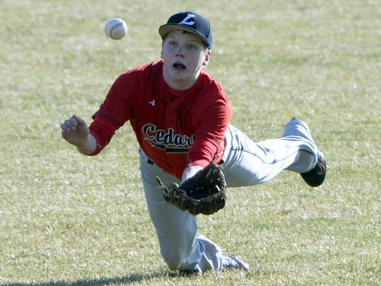 Lebanon's Austyn Yerger makes a diving catch in centerfield during a regular-season home game against Elco at Coleman Memorial Park on Wednesday. Elco won, 3-0.