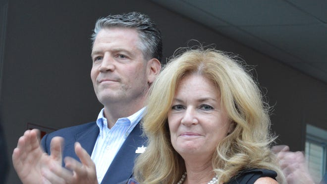 Putnam County Executive MaryEllen Odell with state Sen. Terrence Murphy at a 2014 campaign rally in Mahopac.