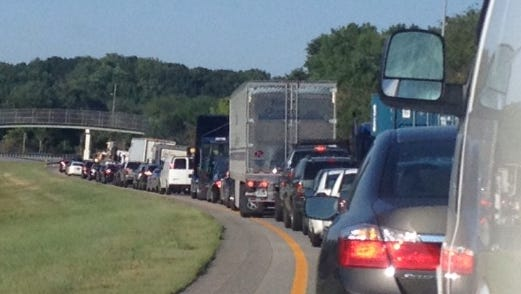 Traffic backs up on southbound I-95 north of Wilmington on Thursday morning.