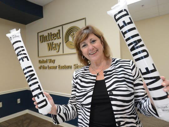 Kathleen Momme, executive director of the United Way of the Lower Eastern Shore, shows her spirit for the agency.