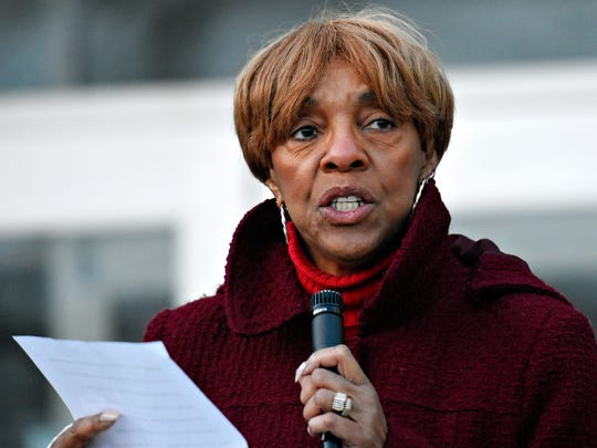 State Representative Carol Hill-Evans speaks as Southern Pennsylvania Incident Network (S.P.I.N.) holds a vigil in honor of fallen York City firefighters Ivan Flanscha, 50, and Zachary Anthony, 29, at Alexander D. Goode Elementary School in York City, Saturday, March 24, 2018. About 200 community members were in attendance. Dawn J. Sagert photo