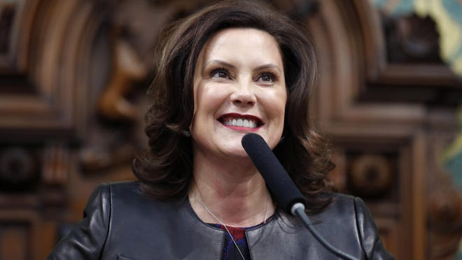 In this Jan. 29, 2020, file photo, Michigan Gov. Gretchen Whitmer delivers her State of the State address to a joint session of the House and Senate, at the state Capitol in Lansing, Mich. Senate Republicans on Thursday, Feb. 13, 2020, blocked Democrat Whitmer's appointee to the state commission that regulates hunting and fishing, which Democrats said was payback because Whitmer refused to pull a separate nominee who is opposed by gun-rights groups. The GOP-led Senate's 20-16 vote to reject Anna Mitterling of Mason for a spot on the Natural Resources Commission marked the first time in nearly a decade that the chamber officially rejected a governor's nominee.